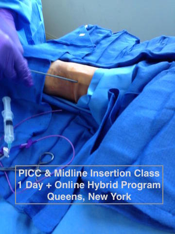 picc training, picc line online classes plus 1 day workshop, includes midline training